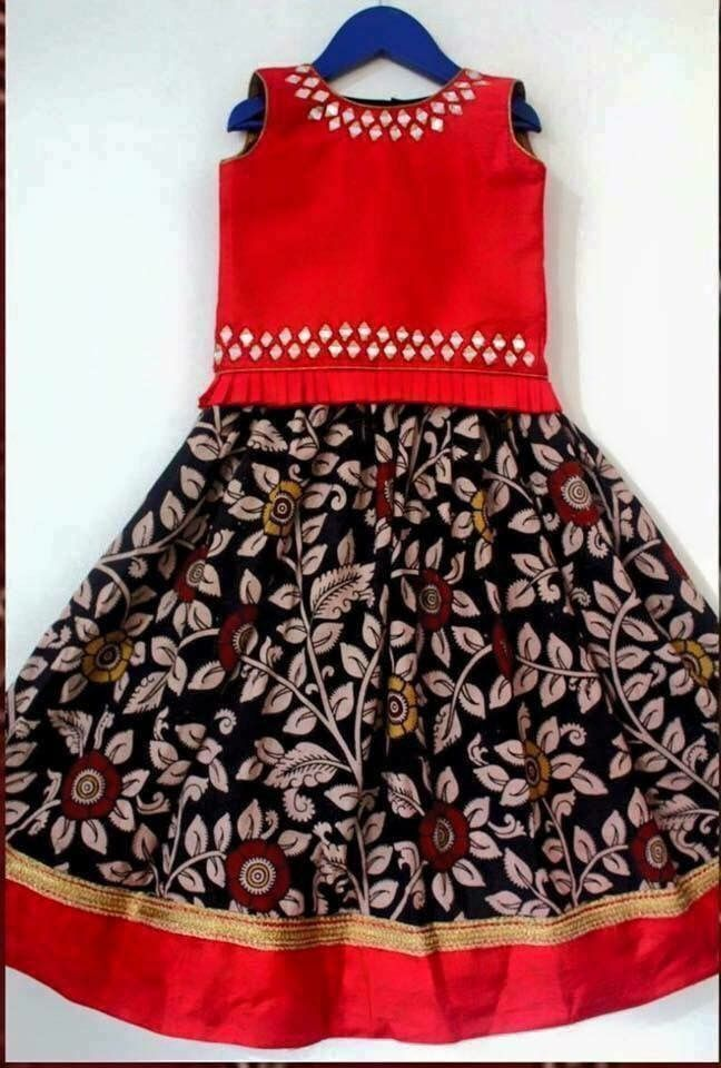 kalamkari skirt plus plain top