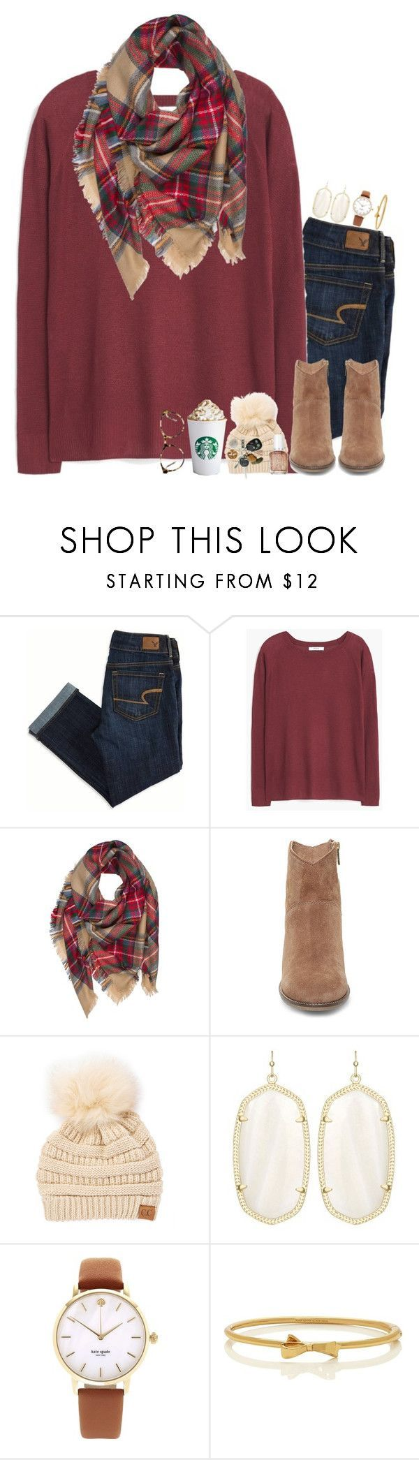 """Because a pumpkin spice latte is a sure sign that fall is coming"" by thedancersophie ❤️ liked on Polyvore featuring American Eagle Outfitters, MANGO, Steve Madden, C.C Cheveux, Essie, Kendra Scott, Kate Spade, Love and livslovelyfallchallenge"