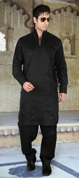 Pathani All Black Wedding Suit Ideas For Men