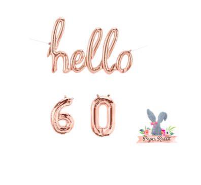 Hello 60 Rose Gold Script Balloon. Hello Balloon. 60TH Birthday Party. Birthday Party Decorations.Rose Gold Balloon.Hello 60 Balloon Banner by PaperRabbit87 on Etsy