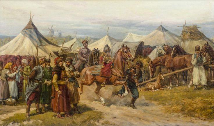 Leszek Piasecki: Na targu olej, płótno, 60,5 x 100,5 cm sygn p. d.: Leszek Piasecki