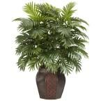 38 in. H Green Areca Palm with Vase Silk Plant
