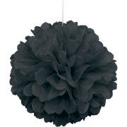 "16"" Black Tissue Paper Pom Pom Image 1 of 2"