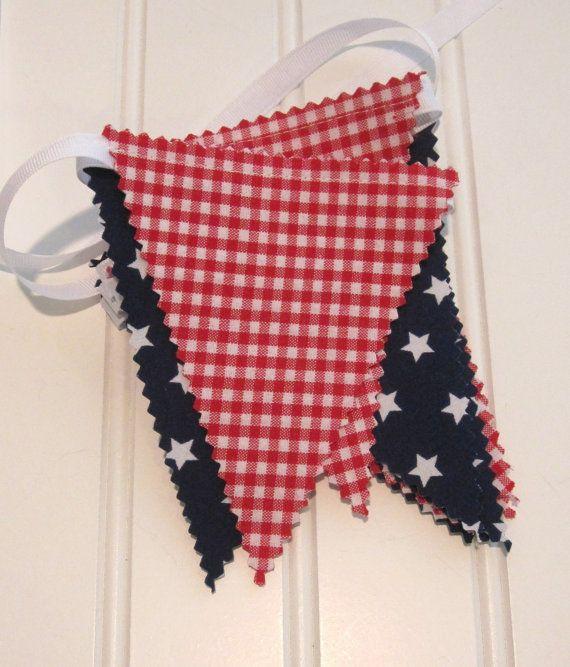 Mini Bunting/Fabric Flag Banner Patriotic Decor by SweetbugStudio, $14.00