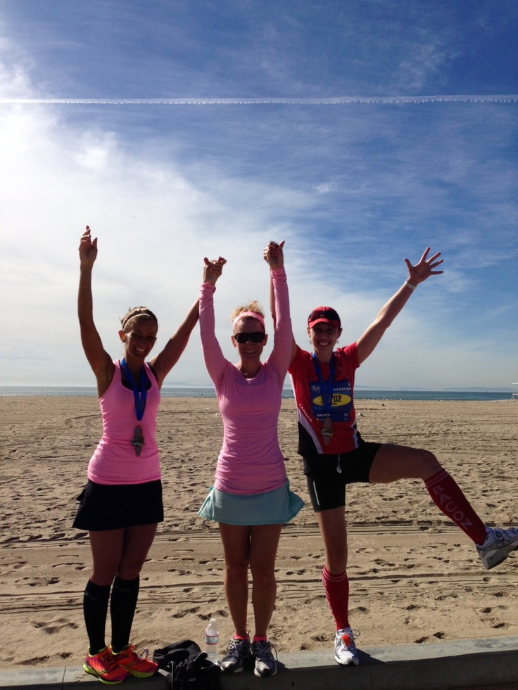 "I am loving post marathon celebration on the beach with my amazing ""stars"" Heather and Nicole."