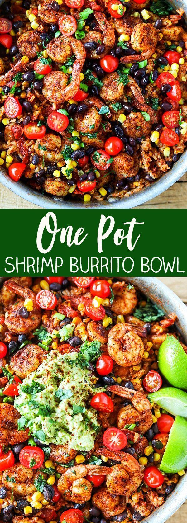 One Pot Shrimp Burrito Bowls