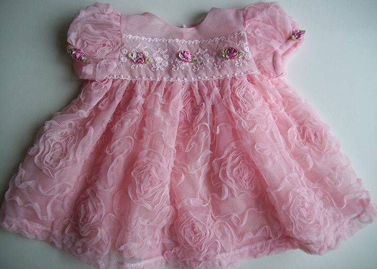 Pink Tulle and Roses Baby Dress , Newborn