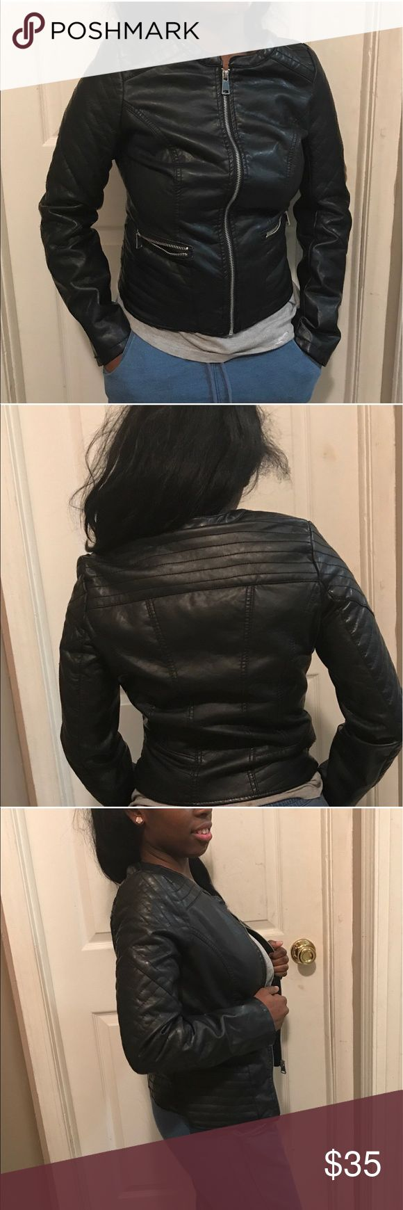 Ladies biker jacket Ladies just this beauty.. this is a sweet Charlotte Russe faux leather biker jacket, love this Jacket would  ❤️ to keep it but can no longer fit me. Worn only twice...  Color-black #bikerjacket #ladies #jacket Charlotte Russe Jackets & Coats