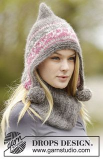 """Sweet Winter Hat - Set consists of: Knitted DROPS hat in 2 strands """"Brushed Alpaca Silk"""" og 1 strand """"Melody"""" with Nordic pattern, pompoms and garter band and neckwarmer with rib. - Free pattern by DROPS Design"""