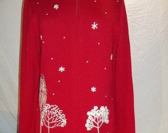 "Vintage 80's Women Sweater Orvis ""Dead Stock"" Was used For A photo Shoot Long Sleeve  Christmas Decorated SZ S  Free Shipping"