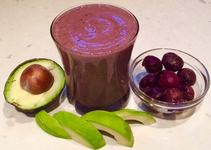 Creamy Avocado Cherry Smoothie. #dairyfree #avocado #cherries #healthy #smoothie