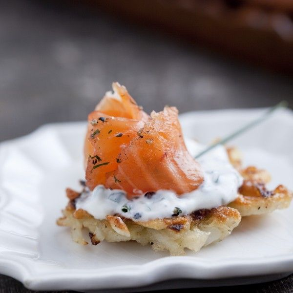 Dill And Black Pepper Gravlax With Mini Potato Pancakes And Chive Sour ...