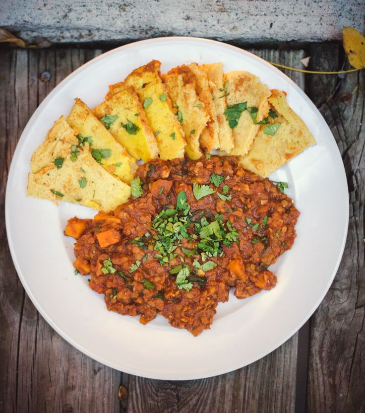 Ethiopian Red Lentil and Sweet Potato Curry with Socca (vegan)