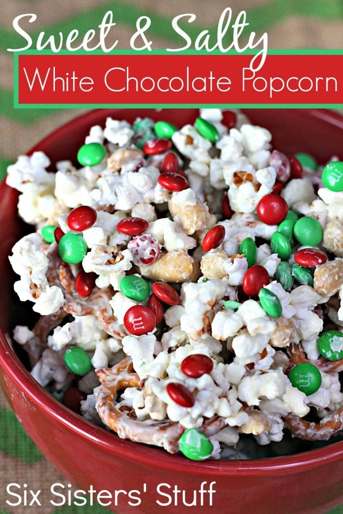 Six Sisters Sweet and Salty White Chocolate Popcorn Recipe  on MyRecipeMagic.com is the perfect holiday snack! You can make a batch in just minutes! So delicious!! #sixsistersstuff