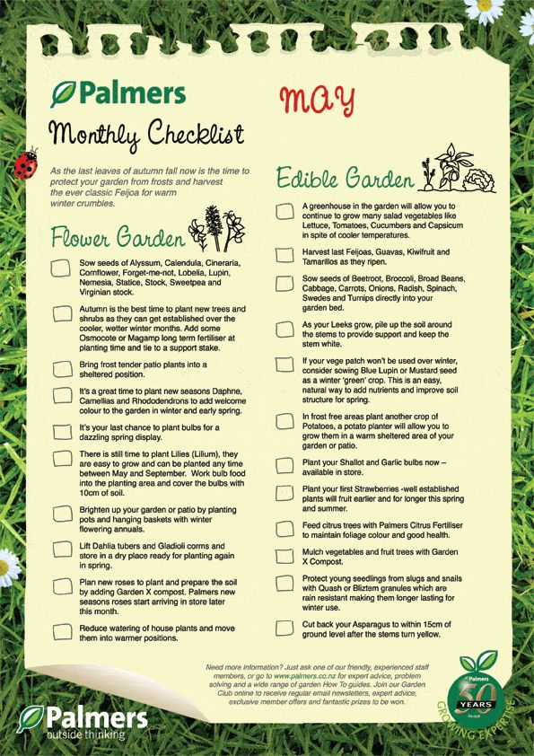 Monthly Gardening Checklists