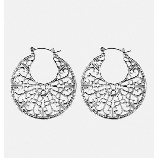 Avenue Filigree Hoop Earrings ($6.99) ❤ liked on Polyvore featuring jewelry, earrings, silver, plus size, silver jewelry, silver hoop earrings, silver filigree jewellery, earring jewelry and fake jewelry
