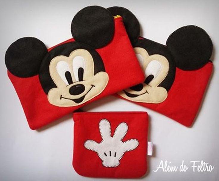 Estojo Mickey | Além do Feltro | Elo7