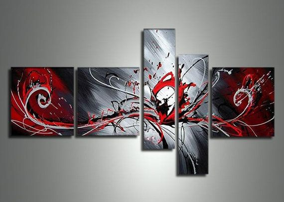Hand-painted Black White And Red Peacock Decorations For Home Modern Abstract Oil Painting 5 Piece Canvas Wall Art