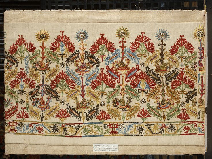 Border Crete, Greece (made) Date:1700-1800 (made) Materials and Techniques: Linen and cotton (fustian) embroidered with silk thread