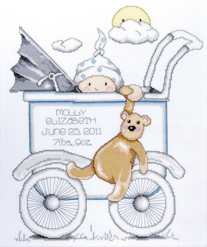 """Accessory Workshop - Baby Buggy Boy Birth Record Counted Cross Stitch Kit - 13""""X15"""" 14 Count"""