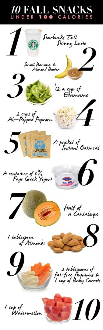 I love Fall especially because I'm in my off-season and I can have more variety in my diet!! Here are 10 great fall food/drink choices that  are under 100 calories :)