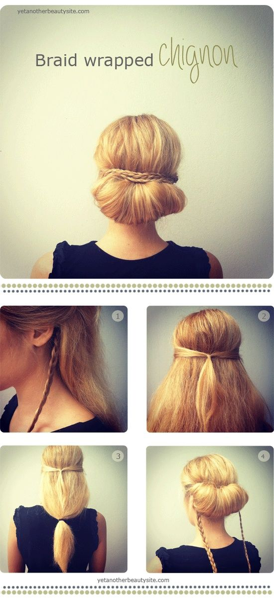 #HowTo #Braid #wrapped #chignon - MyBeautyCompare Pinterest for more #hair #updo #bbloggers #hairstyle #updo #pearl #bun #elaborate #simple #wedding #marriage #idea #glam #chic #elegant #formal #prom #bridesmaid
