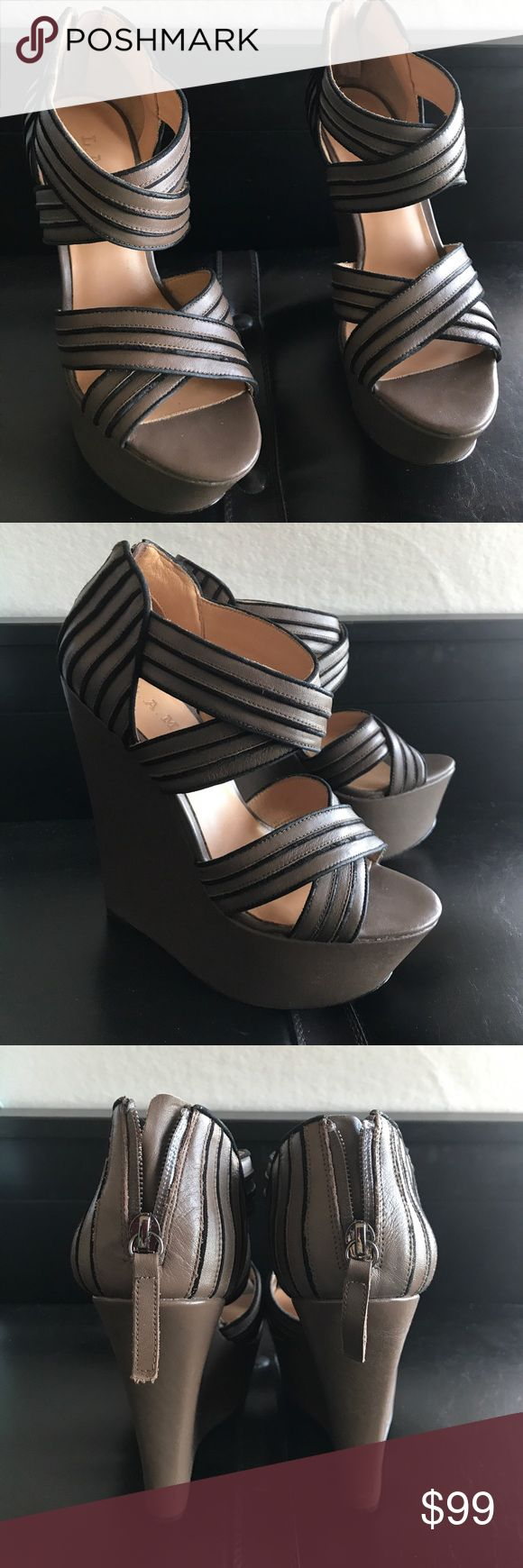 LAMB Bernadette wedge sandals sz 7.5 Leather wedge  sandals. Slightly used. Very good conditions. LAMB Shoes Platforms