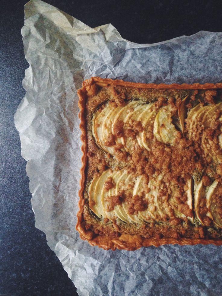 Apple Crumble Nut-Free Frangipane Tart from top