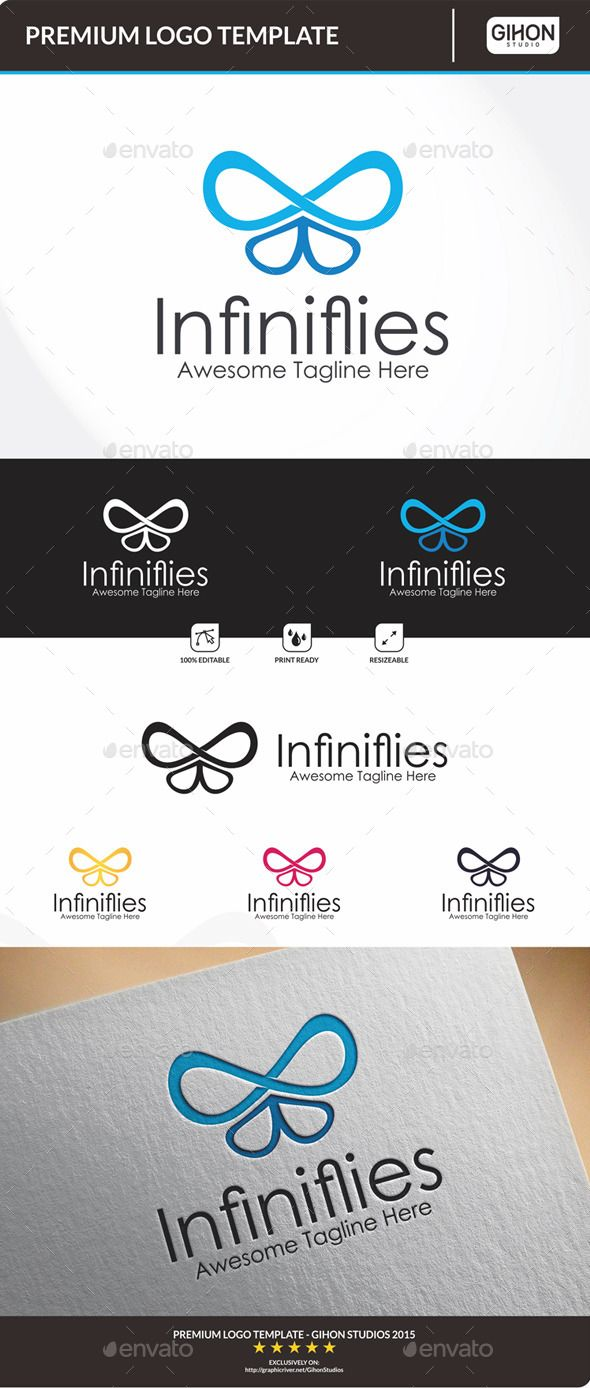 Logotype butterfly and letter b in different colour variants on a - Infinifly Butterfly Logobutterfly