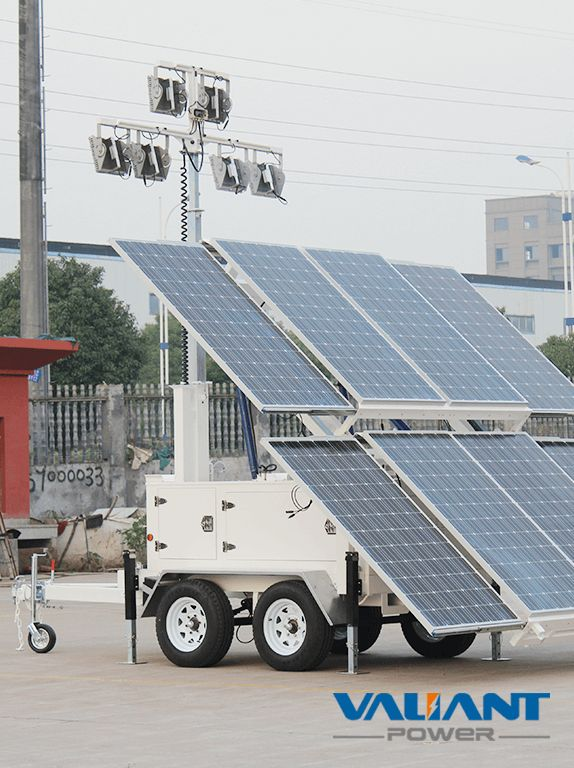 Solar Tower Light VTS2400A-L  Product Feature: 1. 8*325W solar panels 2. 12*150Ah/16*150Ah gel batteries,DC24V/48V system 3. 4*50W/4*100W/6*100W LED light 4. Optional 6 to 9 meters manual/electric/ hydraulic mast 5. Dual axle solar light tower with Australia/ Europe/North America standard