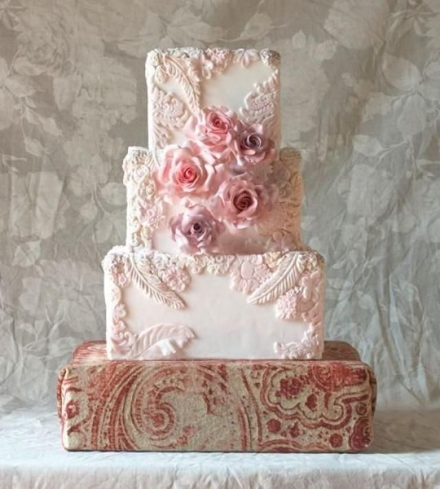 Square wedding cake with detailed floral & leaf pattern