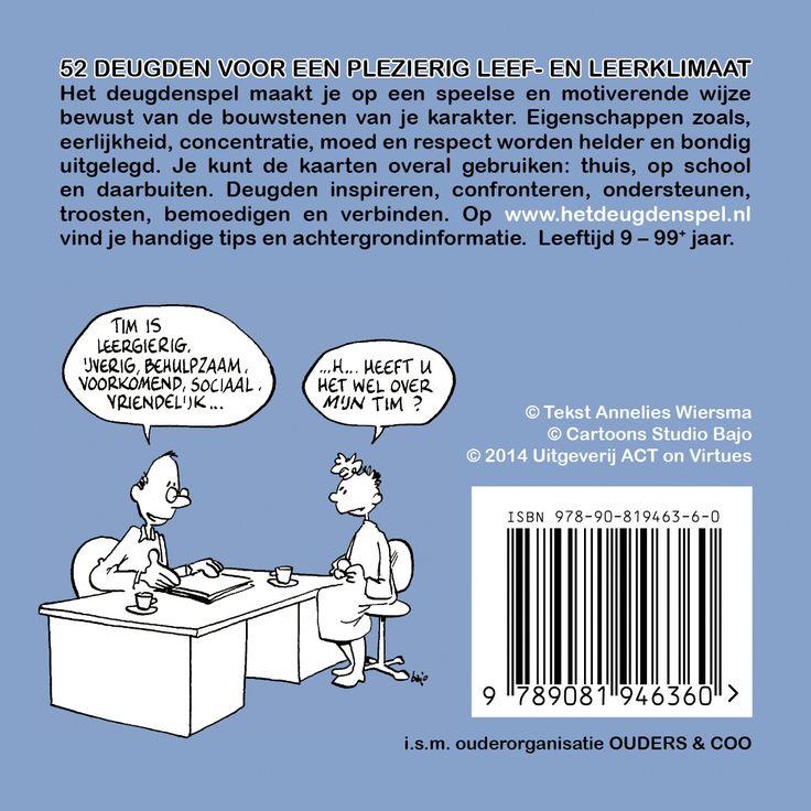 Omslag van 'Het Deugdespel' (back) ontworpen door Annelies Wiersma voor Uitgeverij ACT on Virtues
