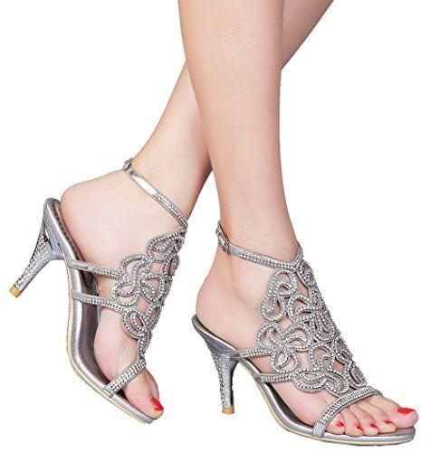 Abby L019 Womens Unique Wedding Bride Bridesmaid Party Show Dress Cone Heel Micro-fiber Sandals Silver 9 M US