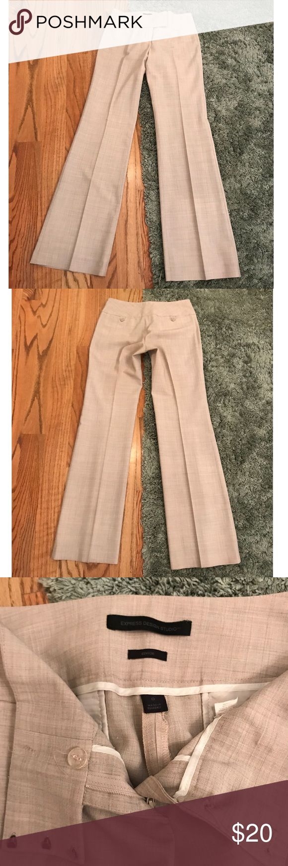 "Express ""editor"" slacks Light khaki print, straight leg, soft. Super cute for day or night work or play! Express Pants Straight Leg"