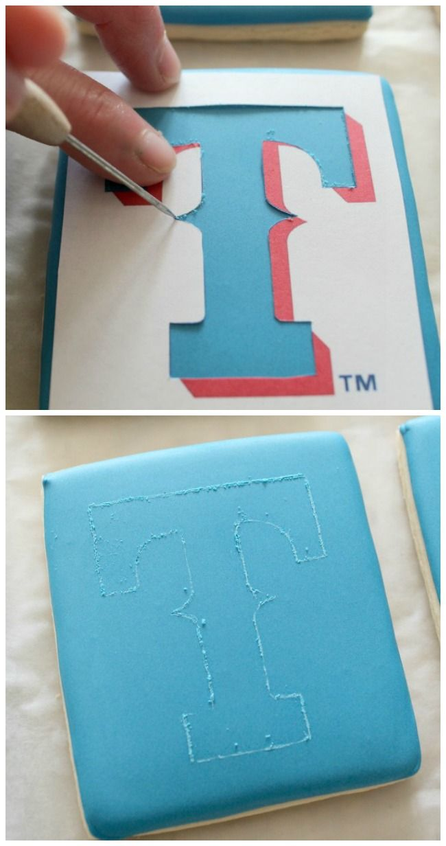 use food marker or needle to trace stencil. stencil either purchased or printed & cut with Exacto knife (or use projector)