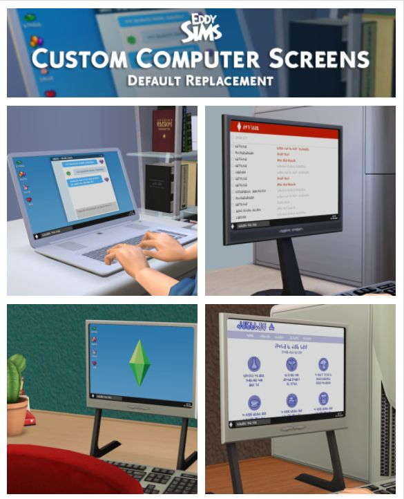 Custom Computer Screen by eddysims via tumblr | Electronics | Computer + Laptop | Maxis Match | Sims 2 | pinned by aeonsims