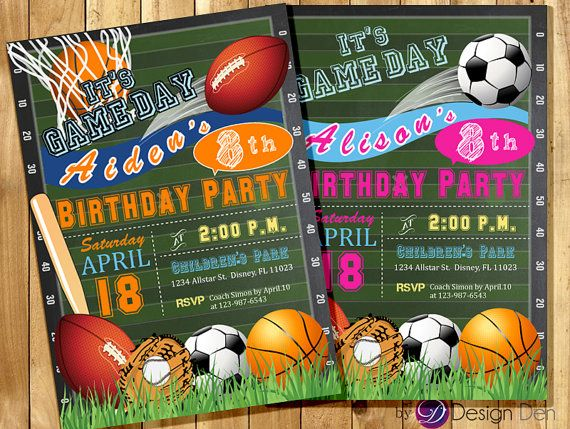 All Star Invitation / Sports Theme / Boys or Girls Sports Birthday party Invitation / Game day Invite #K1048