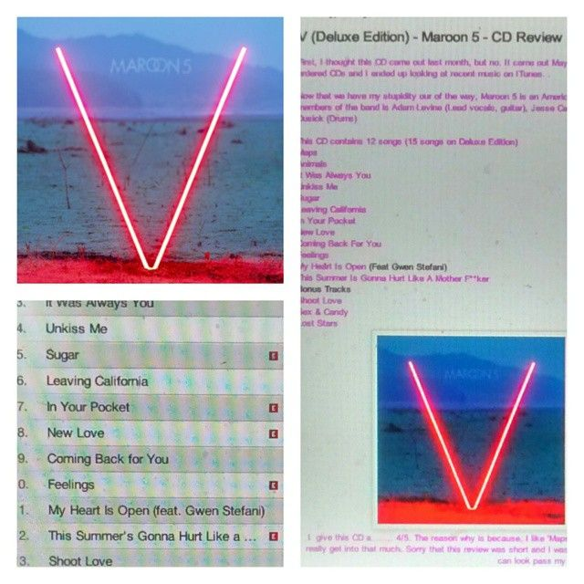Check out my review on Maroon 5's CD http://iheartcelebrities519.blogspot.ca/2015/05/v-deluxe-edition-maroon-5-cd-review.html