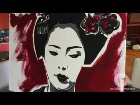 Azzumail Timelapse Painting - quadro moderno dipinto a mano: Ritratto di Geisha - YouTube