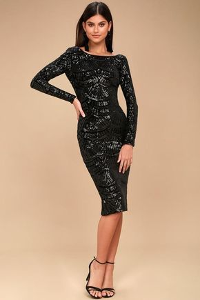 7cc9e75e #Lulus - #Lulus Dress The Population - Emery Black Sequin Bodycon Midi Dress  - Size Large - Lulus - AdoreWe.com