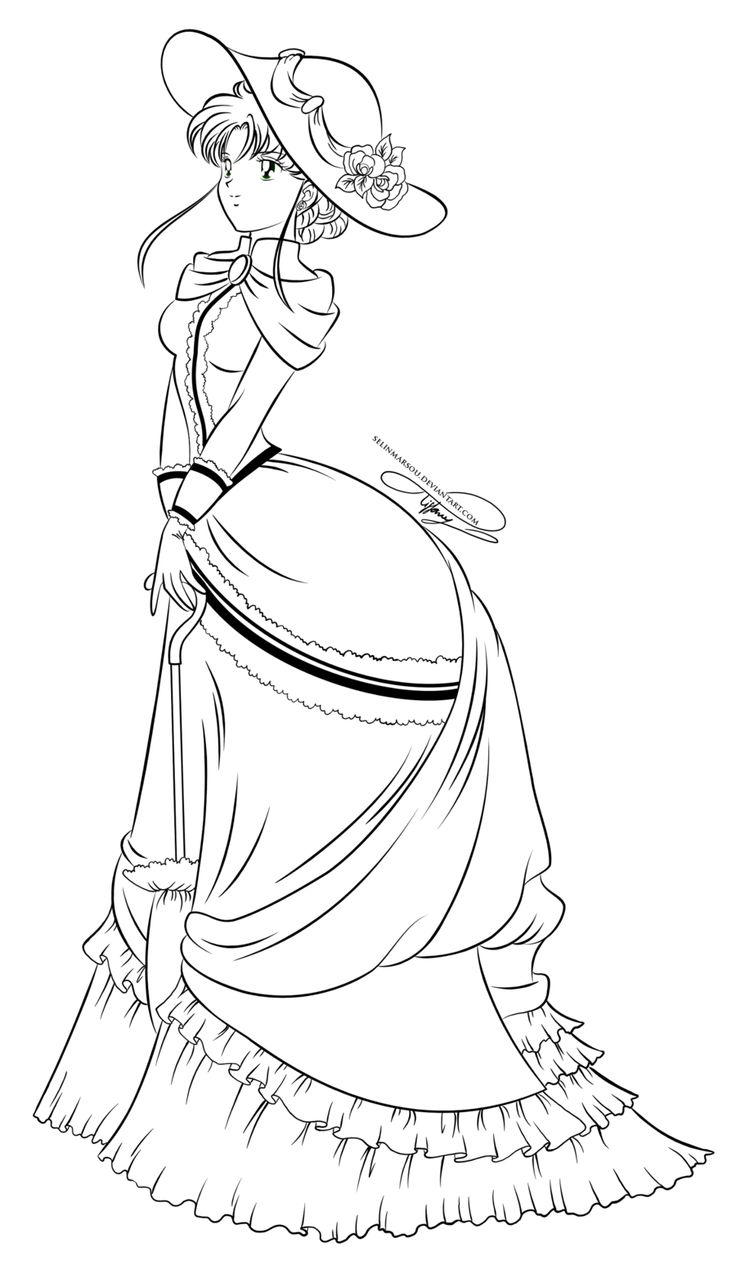 Lineart vintage lady makoto by - Coloriage sailor moon ...