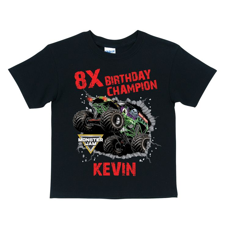 Monster Jam Birthday Champion Black T-shirt - T-Shirts - Clothing | Tv's Toy Box