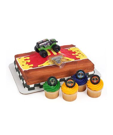 Look what I found on #zulily! Grave Digger Cake Topper & 24 Cupcake Ring Set #zulilyfinds