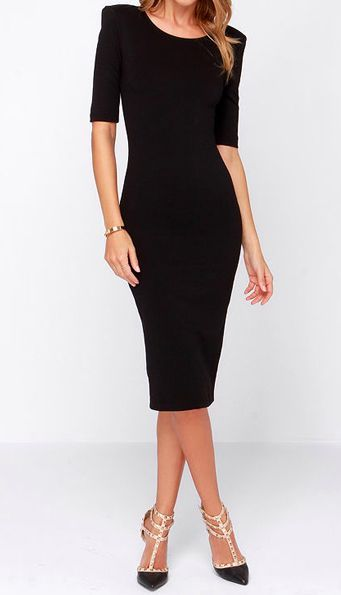A round neckline with a deep scooping back tops this stretch knit dress, with help from lightly padded shoulders, fitted half sleeves and darts.