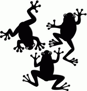 Silhouette frogs