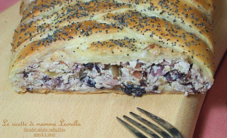 STRUDEL SALATO RADICCHIO SPECK E NOCI - ricetta torta salata invernale