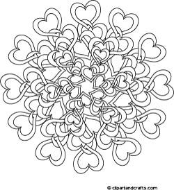 Difficult Mandala Coloring Pages | Tangled Hearts Complex Coloring Page