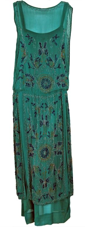 Flapper Dress: ca. 1920's Art-Deco beaded chiffon.