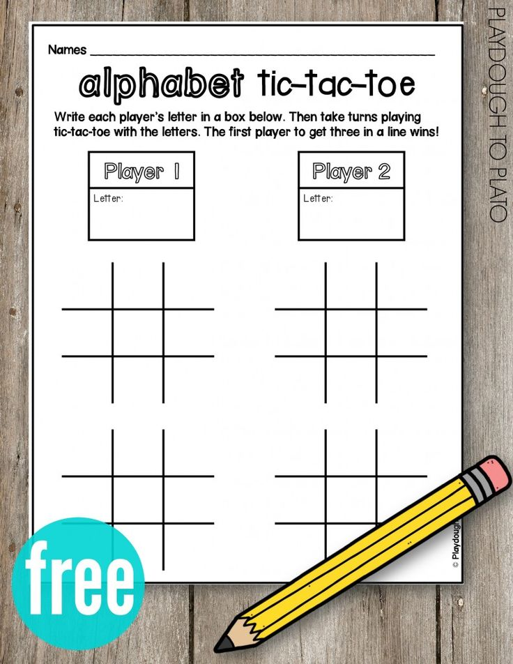 FREE Alphabet Tic Tac Toe!! What a fun ABC game for kids. Could be used for sight words too! So simple to play and no prep!