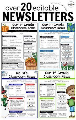 Editable Newsletter Templates School communication Classroom
